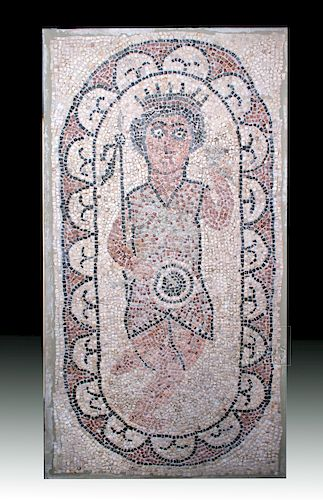 Roman Mosaic of Saint with Crown