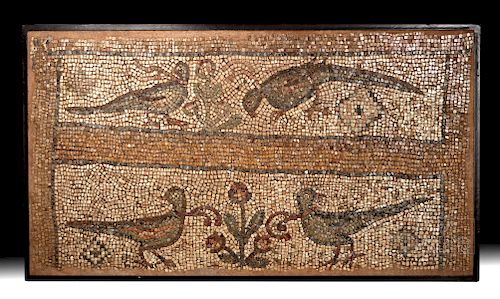 Large Roman Stone Mosaic - Pheasants and Flowers