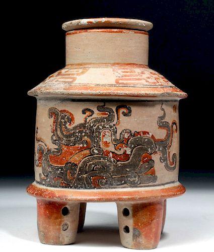 Rare Maya Peten Lidded Polychrome Vessel