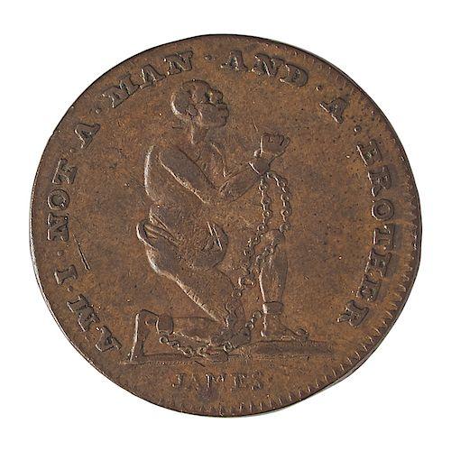 GREAT BRITAIN ND (1790s) ANTI-SLAVERY FARTHING TOKEN