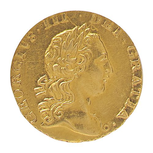 GREAT BRITAIN 1762 1/4 GUINEA GOLD COIN