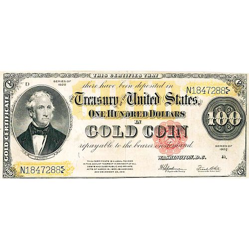 U.S. 1922 $100 GOLD CERTIFICATE