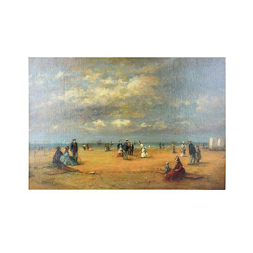 Eugène Boudin (FR. 1824-1898) O/C Beach Trouville