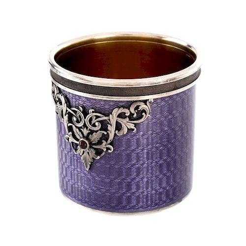 Russian Faberge Silver and Enamel Vodka Cup