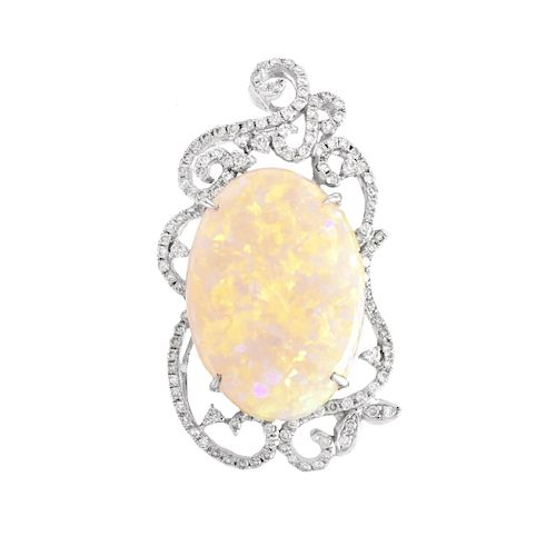 Opal, Diamond and 18K Gold Pendant
