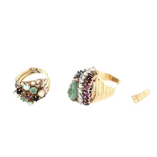 Two Vintage Gemstone and 14K Rings