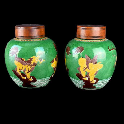 Pair Chinese Pottery Ginger Jars