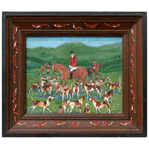 A 20th century naive painting of a fox hunt.