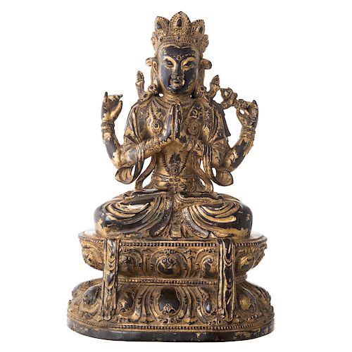 Important Chinese Carved Zitan Shadakshari Deity
