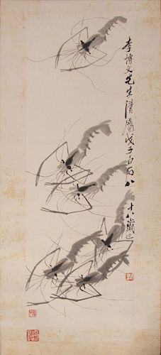 QI BAISHI (Chinese, 1863-1957). Shrimp.