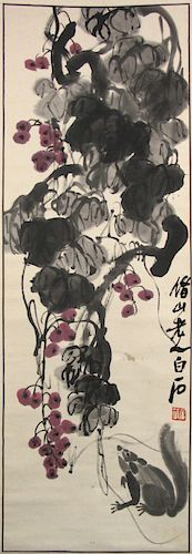 QI BAISHI (Chinese, 1863-1957). Grapes & Squirrel.