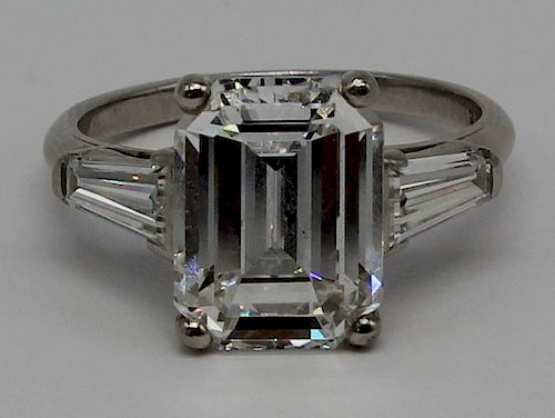 JEWELRY. GIA 5.25ct G VS1 Emerald Cut Diamond and