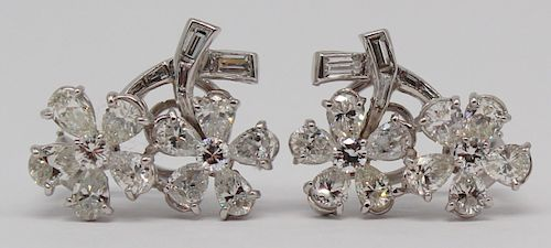 JEWELRY. Pair of Platinum and Diamond Ear Clips.