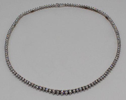 JEWELRY. Platinum and Diamond Riviere Necklace.