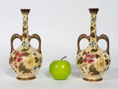Pair, Zsolnay Art Nouveau Double Handled Amphoras