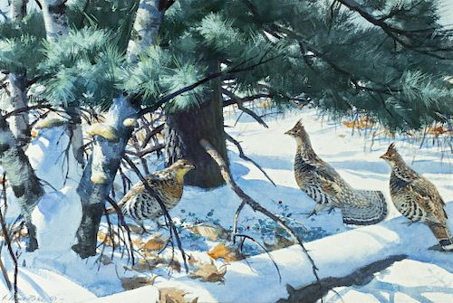 Aiden Lassell Ripley (1896-1969) Grouse on a Winter Morning