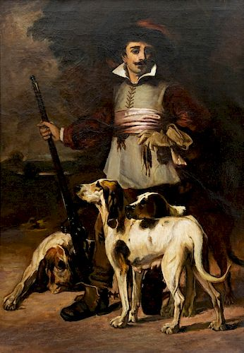 Manner of John Sargent Noble (1848-1896) Hunter with Musket and Hounds