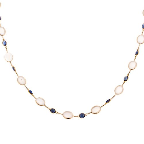 A Ladies Moonstone & Sapphire Necklace in 14K