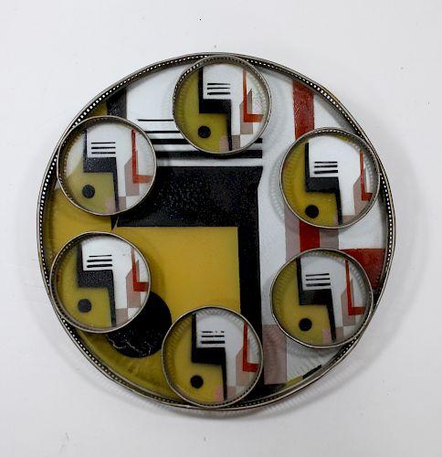 Art Deco Eglomisé Tray & Coasters.