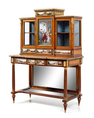 A Louis XVI Style Gilt Bronze and Meissen Porcelain Mounted Marquetry Secrétaire Bibliothèque