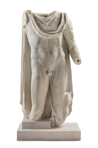 A Roman or Later Marble Torso of a God