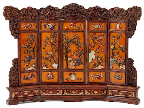 A Chinese Carved and Hardstone Inlaid Table Screen