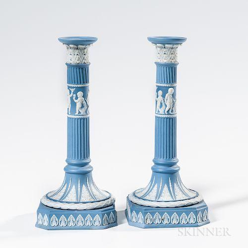 Pair of Wedgwood Solid Blue Jasper Candlesticks
