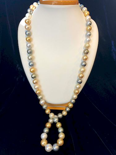 Fine 12.1mm-15.1mm South Sea Pearl Necklace, 14k Yellow Gold and Diamond Clasp