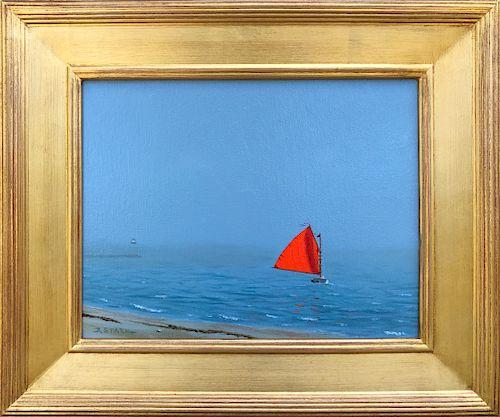 "Robert Stark Jr. Oil on Canvas ""Red Sail"""