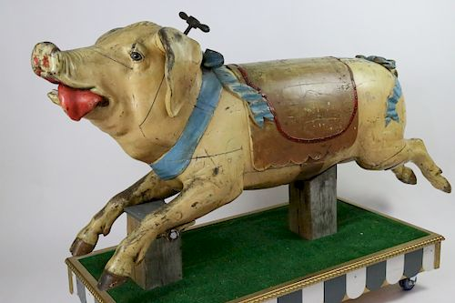 Gustave Bayol Carousel Company Carved and Polychrome Wood Carousel Pig