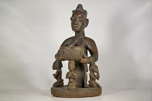 """Yoruba Female Sculpture with Bowl and Four Figures 22"""""""