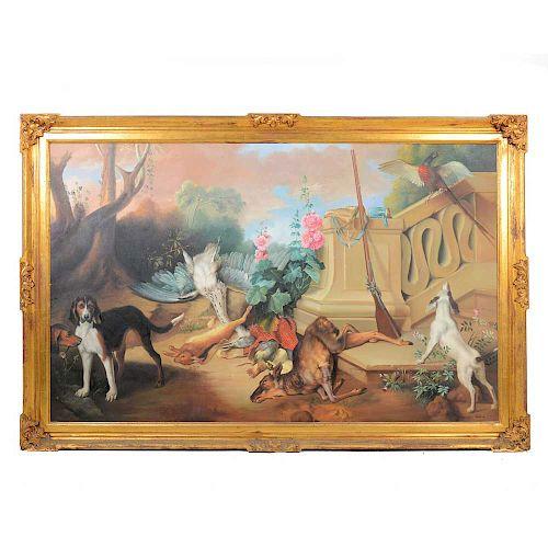 Enrique Urbina. Escenas de caza. Firmado en el ángulo inferior derecho. Óleo sobre tela. Enmarcado en madera dorada.