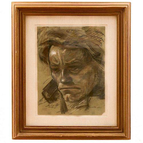 """José Manuel Schmill Ordóñez. """"Beethoven"""". Firmado y fechado 1909 en el ángulo inferior izquierdo. Carboncillo sobre papel. Enmarcado."""