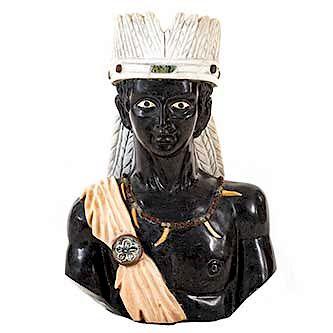 Moro. Origen oriental. Siglo XX. En talla de mármol. Ataviado con la indumentaria tradicional de la región.