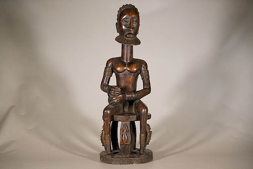 """Seated Male Dogon Figure with Incredible Detail 29"""""""