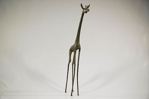 Nigerian Bronze Giraffe 34.5''