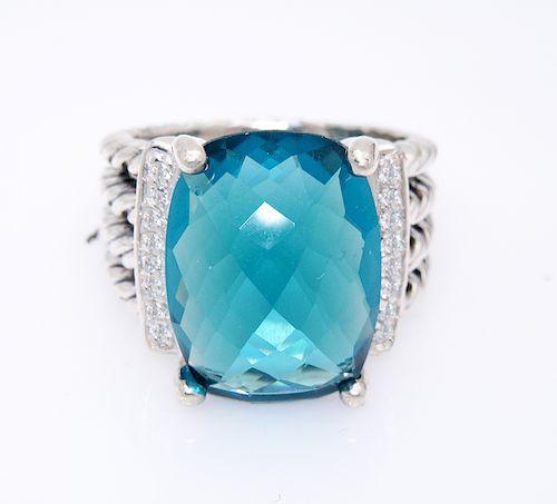 927ffaa53032f David Yurman Wheaton 16x12mm Blue Topaz 0.13tcw Diamond by Allure ...