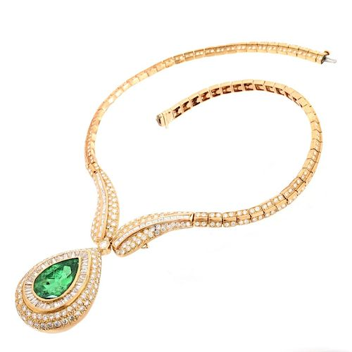 Important Emerald, Diamond and 18K Necklace