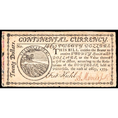 1st Continental Currency Issue, May 10, 1775 $20 MARBLED BORDER Note PCGS EF-40