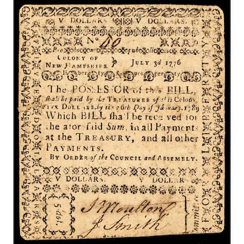 Colonial Currency, New Hampshire. July 3, 1776. Five Dollars. PCGS Very Fine-20