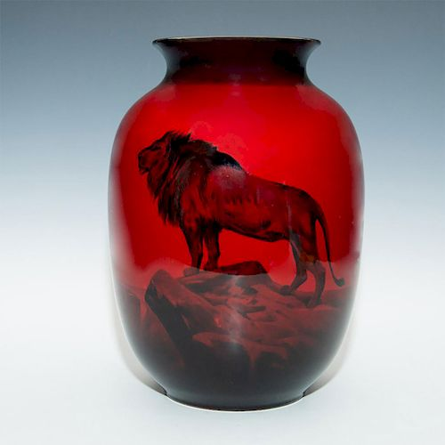 ROYAL DOULTON FLAMBE LION VASE, THE TOP OF THE WORLD
