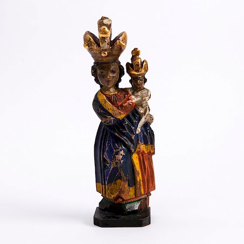 POLYCHROME WOODEN MADONNA AND CHILD