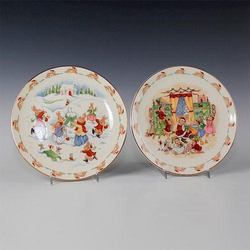 ROYAL DOULTON 2 BUNNYKINS CHRISTMAS PLATES, PN175, PN198