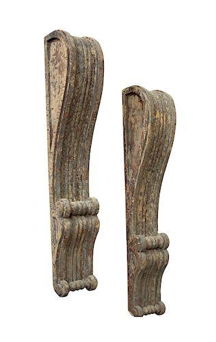 Pair of English Georgian Wood Corbels
