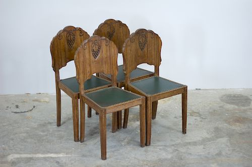 Set Of 4 French Art Deco Dining Chairs