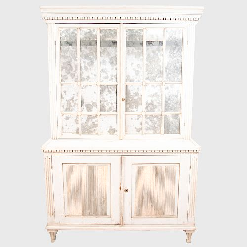 Swedish Neoclassical Style White Painted Cabinet with Glazed Panels