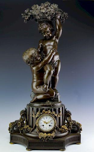 Antique Victorian French Bronze Figural Clock FINE
