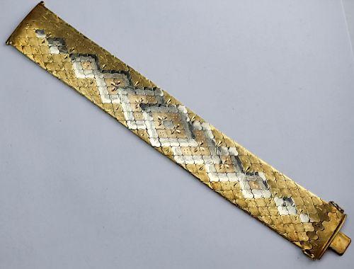 "Italian 18K 750 Tri Gold Mesh 8"" Bracelet 79 Grams"