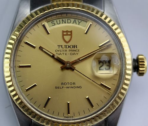 Rolex Tudor Steel & Gold Day Date Oyster Prince Watch