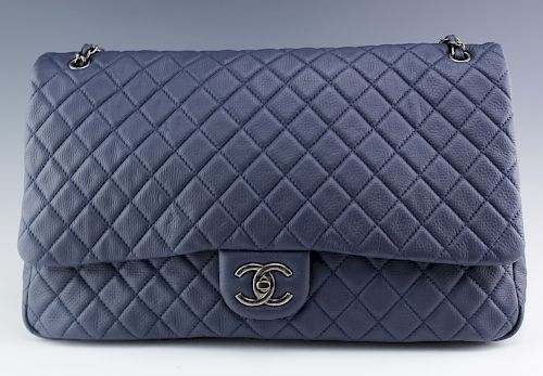 Chanel Blue XXL Airlines Travel Flap Tote Handbag